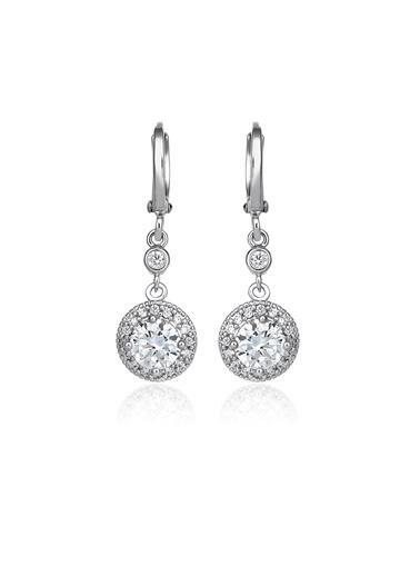 Tophills Diamond Co. 2,20 Ct Pırlanta Efekt Altın Entourage Küpe Renkli